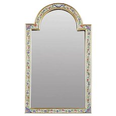 "BEAUTIFUL 15"" Antique French Champlevé Bronze Table Top Mirror ~ Charming Shape and Divine Colors ~ Original Beveled Mirror"