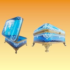 """7 ½"""" Antique Bohemian Casket Hinged Box with Ornate Footed Base ~ Fabulous Hand Enameled Chinese Figures Grace the Top~ Exquisite White Enamel Sides on Luscious Blue ~ Ornate Mounts and S Clasp"""
