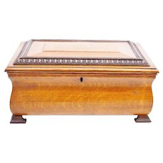 """Antique 14"""" Oak Casket Hinged Box with Double Fancy Brass Handles  ~  Very Usual BIG Square Footed Base"""