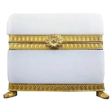 Exquisite 19C French White Bulle de Savon Opaline Box ~ Majestic Dore' Bronze Mounts and Flower Clasp~   Paw Feet