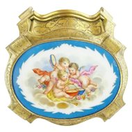 Antique French Gilt Bronze Hinged Box with Fabulous Porcelain Plaque ~ Three Precious Playful Winged Cherubs ~ A Masterpiece from My Treasure Vault.