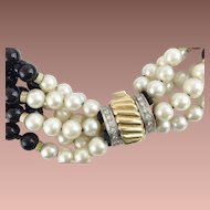 "16"" 14KARAT Yellow Gold, Diamond. Pearl, and Black Onyx ""ELEGANT & EXQUISITE"" Necklace"