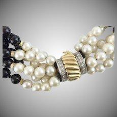 "16"" 14KARAT Yellow Gold, Diamond. Pearl, and Black Onyx ""ELEGANT & EXQUISITE"" Necklace"