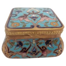 Antique French Champleve Hinged Box  ~ Beautiful Shape and Colors ~