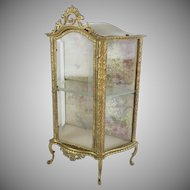 GRANDEST Antique French Miniature Vitrine Curio...Perfect for Doll or a Small Collection of Tiny Treasures ~ Gilt Bronze with Beveled Glass