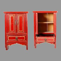 """16"""" Chinese Miniature Red Lacquered Cabinet w Two Doors and One Drawer  ~  Hang on a Wall or Table Top ~ Open  Doors and Display Your Tiny Asian Treasures"""