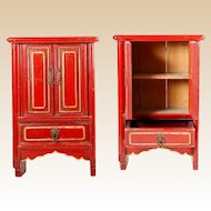 """Beautiful 16"""" Chinese Miniature Red Lacquered Cabinet with Two Doors and One Drawer~ AWESOME Color!  ~ Hang on a Wall or Will Sit on Table  ~ Open  Doors and Display Your Tiny Asian Treasures"""