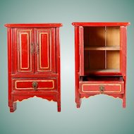 """Charming  16"""" Chinese Miniature Red Lacquered Cabinet w Two Doors and One Drawer ~  Hang on a Wall or Table Top ~ Open  Doors and Display Your Tiny Asian Treasures"""