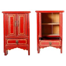 "16"" Chinese Miniature Red Lacquered Cabinet w Two Doors and One Drawer  ~  Hang on a Wall or Table Top ~ Open  Doors and Display Your Tiny Asian Treasures"