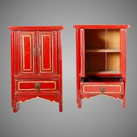 "Charming  16"" Chinese Miniature Red Lacquered Cabinet w Two Doors and One Drawer ~  Hang on a Wall or Table Top ~ Open  Doors and Display Your Tiny Asian Treasures"