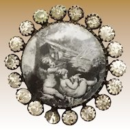 """19 C  French Paste """"PUTTI"""" Button  """"  1 ¼"""" D """""""