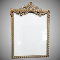 Stunning  Antique French Style Table Top Frame ~ Beautiful  Draped Flower Garland  ~  Wall or Easel Back