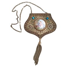 LAYAWAY AJ Antique French Jeweled Miniature Compact Purse  ~ Porcelain Pastoral Plaque and Tassel ~ Original Interior ~  STAMPED: Made in France