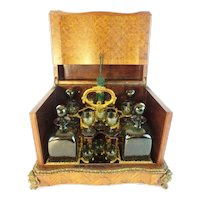 Antique French Parquetry and Gilt Bronze Cave à Liqueur  Tantalus ~  RARE Green Glasses and Decanters