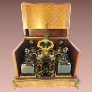 Antique French Parquetry and Gilt Bronze Cave de Liqueur Tantalus ~  RARE Green Glasses and Decanters