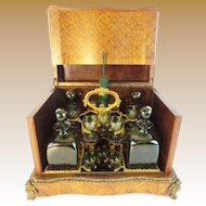Stunning Antique French Parquetry and Gilt Bronze Cave de Liqueur Tantalus ~  RARE Green Glasses and Decanters