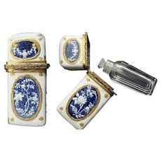 Antique French Enamel  Miniature Hinged Box with a Tiny Glass Perfume           S