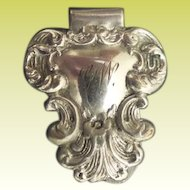 Antique Ornate Silver Chatelaine Belt Clip ~ UNMARKED ~ Appears to be Silver plate ~ G W Monogram