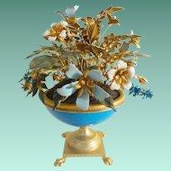 Jane Hutcheson Jeweled Enamel Flowers in Blue Opaline Paw Foot Vase ~ Ornate Gilt Ormolu Paw Feet  ~  Magnificent Blue Opaline Vase