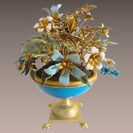 Jane Hutcheson Jeweled Enamel Flowers in Blue Opaline Paw Foot Vase ~ Ornate Gilt Ormolu Paw Feet  ~  Magnificent Blue Opaline Vase