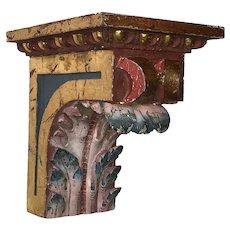 Antique Spanish Hand painted Wood Bracket  ~ FABULOUS Display Wall  Bracket