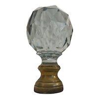 Grandest GIANT Antique French Cut Crystal Newel Post Boule Escalier  ~  Bronze Mounts.