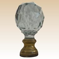 Grandest GIANT Antique French Cut Crystal Newel Post Boule Escalier  ~  Bronze Mounts.