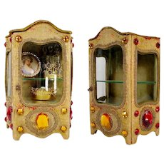 Antique Jeweled Miniature Vitrine ~ Beautiful Silk  and Velvet Fabric ~ Original Curved Glass and Two Interior Shelves to Hold Your Tiny Precious Treasures ~ Faux Ruby  and Golden Topaz Gems