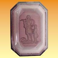 Rare Purple Czech Intaglio Glass Dish