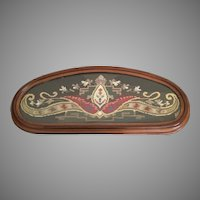 19C  English Needlepoint Framed Tray ~ Carved Wood Framed Tray with Lovely Needlepoint behind Glass ~  Resting on Four Bun Feet ~ The Needlepoint Tray has a Wire Back that once was Wall Hung