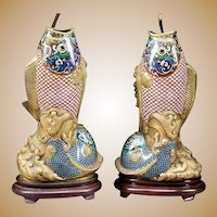 "Antique 32"" Chinese Cloisonné  Fish Lamps. Gorgeous Fish Vases  ~ Superior Quality and Exquisite Made Lamps. ~ THE BEST!"