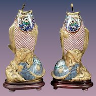 """Antique 32"""" Chinese Cloisonné  Fish Lamps. Gorgeous Fish Vases  ~ Superior Quality and Exquisite Made Lamps. ~ THE BEST!"""