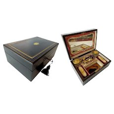 Stunning Antique Ebony Sewing Box Etui ~  Mirrored Interior has the Original Complete 5 Piece Set Etui and Perfume/Ink Pots