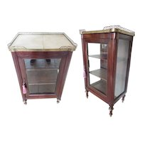Antique Miniature Vitrine Curio Cabinet ~ Brass Gallery ~ Pretty Legs with Brass Accents ~ Just the Right Size!