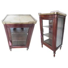 Lovely Antique Miniature Vitrine Curio Cabinet With a Brass Gallery. Glass Door and Glass Side Lights ~ Lovely Legs with Brass Accents ~ A Great Miniature Vitrine Curio Cabinet to Display Your Small Treasures ~ Just the Right Size!