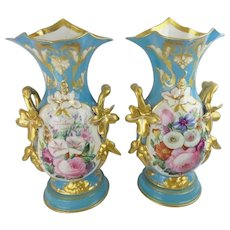 """Glorious 14 ½"""" Antique French Porcelain Vases ~  Old Paris Masterpiece Pair ~ BIG and BEAUTIFUL ~"""