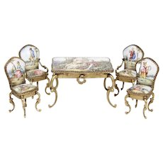 Antique Miniature Austrian Enameled Table & Chairs  ~  5 Terrific Austrian Pieces ~ 4 Chairs and a Table with a Drawer