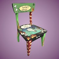 "A 1990 Wonderful Lucky Chair by Sally Davies  ~ ""To Inspire Great Ideas"" ~   It covers it all  ""LUCKY CHAIR"""