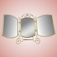 Antique Vanity Top Tri Fold Mirror ~ Beautiful Gilt Ormolu and the Triple Beveled Mirrors have Leather Backs. ~ Nice Heavy Stands that Assures Properly Standing ~ A Beauty from My Treasure Vault.
