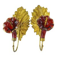 Victorian  Ruby Glass Ormolu Drapery, Curtain Tie Back ~BIG Gilt Leaves  w Ruby Flower Gilding Trim ~ Drapery, Curtains or Over the Bed