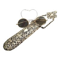 Antique Silver Chatelaine Eyeglass Case with Glasses
