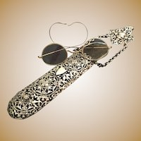 Antique Silver Chatelaine Eyeglass Case with Glasses ~ Magnificent
