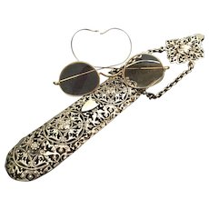Magnificent Antique Silver Chatelaine Eyeglass Case with Glasses