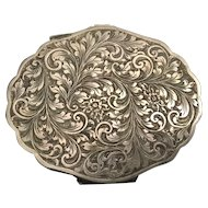 Pretty Antique 800 Italian  Compact. ~ A Lovely Chased Flora and Scrolling Foliate Motif Compact ~  GREAT PRICE!