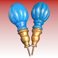 """Pair Antique French Blue Opaline Newel Post Finial """"Boule Escalier""""  ~ A PAIR with Screw Bronze Bases ~ The Color is Just a Little Different. Rare to get a Near matched Pair."""