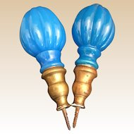 "Pair Antique French Blue Opaline Newel Post Finial ""Boule Escalier""  ~ A PAIR with Screw Bronze Bases ~ The Color is Just a Little Different. Rare to get a Near matched Pair."