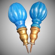 """PAIR Antique French Blue Opaline Newel Post Finial """"Boule Escalier""""  ~ A PAIR with Screw Bronze Bases"""