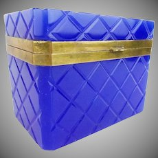 Elegant Antique French Cobalt Opaline Casket ~ Large Rectangular Shape with On Half Inch Clipped Corners Scored With Criss Cross Cut ~  Smooth Gilt Mounts and Lift Clasp