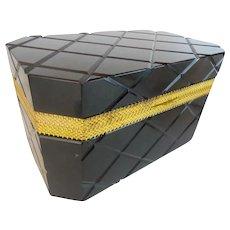 Majestic  Black Glass Casket Hinged Box ~ BIG, BOLD, and Beautiful!