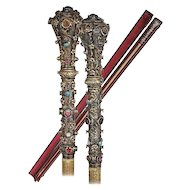 1880 Austro-Hungarian Silver Jeweled Parade Riding Crop ~  Beautiful Gems of Turquoise Cabochons, Faceted Cut Garnets ~ A RARITY!